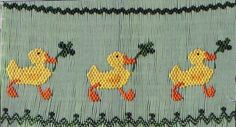 Lucky Ducks, by Lisa Speegle Eldridge (Sew Beautiful, Special Occasions Smocking Plates, Smocking Patterns, Sewing Stitches By Hand, Hand Sewing, Cross Stitch Borders, Cross Stitch Animals, Heirloom Sewing, Running Stitch, St Patricks Day