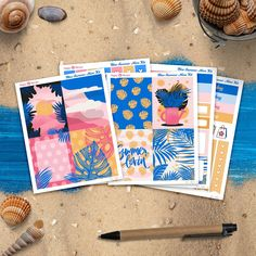 Blue Summer Mini Planner sticker kit 5 sheets for Happy Summer Planner, Life Planner, Happy Planner, Erin Condren, Amazing Sunsets, Planner Stickers, Gel Pens, Sharpie, Original Artwork