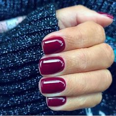 Square nail polish with maroon color for fall Nageldesign Nail Art Nagellack Nail Polish Nailart Nails Dark Red Nails, Burgundy Nails, Short Red Nails, Short Nails Shellac, Squoval Acrylic Nails, Nail Shapes Squoval, Gel Manicures, Shellac Nails Fall, Short Natural Nails