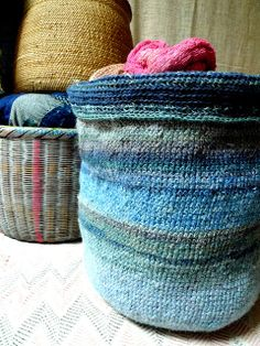 linen knitting basket