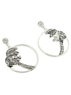 Discount Crystal Accented Silvertone Palm Tree Earrings