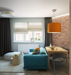 Finally we have another small apartment designed for a young family and measuring just 50 square meters (538 square feet). The modern space includes a bit of brightness - electric blue and orange - but otherwise keeps things simple. This is often the best choice in small spaces, since it can quickly begin to feel busy and almost stressful with too many colors and patterns. A comfortable bedroom and a wood paneled bath that actually feels quite spacious round out this design.