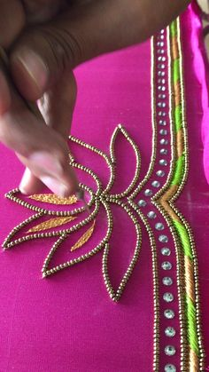 Hand Embroidery Dress, Kurti Embroidery Design, Embroidery Neck Designs, Hand Embroidery Videos, Bead Embroidery Tutorial, Bead Embroidery Jewelry, Beaded Embroidery, Cutwork Blouse Designs, Patch Work Blouse Designs