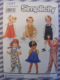 Infant / Baby Overalls, Sundress, Jumper and Bubble Suit - Uncut Simplicity Sewing Pattern 7047