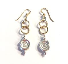 Hammered Gold & Silver Spiral Earrings by SpiralVineDesigns on Etsy
