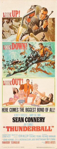 "James Bond ""Thunderball"" (United Artists, 1965). Insert (14"" X 36"") Sean Connery #007 #SeanConnery #JamesBond #MoviePoster"