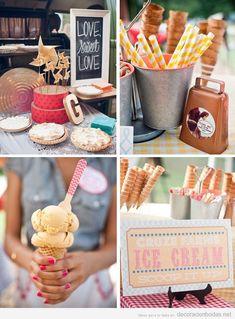 Ideas originales, mesa de postres y dulces en una boda con pasteles y helados de cucurucho