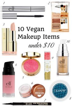 10 Vegan Makeup Items under $10 shop more on shop.addresschic.com