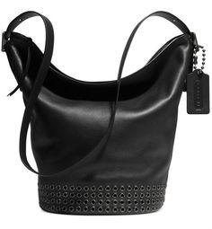 COACH 32392 BLEECKER GROMMETS DUFFLE LEATHER BLACK BAG  #Coach #ShoulderBag