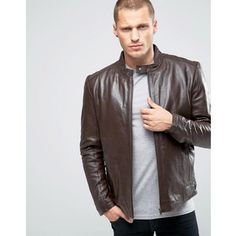 ASOS Leather Biker Jacket in Brown