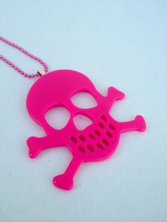 Pink Resin Skull Necklace by by TheWorldFamousPins on Etsy, $10.00
