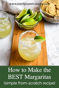 This is our go-to homemade margarita recipe! It's a simple version of the classic cocktail, using only 4 ingredients. This easy from-scratch drink recipe is perfect for date night or Taco Tuesday! It's easy to make and the best combination of sour, sweet, and salty. It's also vegan! #vegancocktail #cocktail #margarita #lime #tequila #drink Vegan Recipes Beginner, Recipes For Beginners, Easy Healthy Recipes, Easy Margarita Recipe, Margarita Recipes, Easy Cocktails, Cocktail Recipes, Dairy Free Queso, Homemade Margaritas