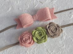 felt headband set - newborn/baby/toddler headband - flower headband - photo prop - bow headband on Etsy, $9.00