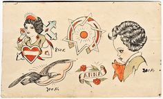 From the Maritime Museum´s collection of approximately 170 original tattoos of the and Flash Show, Tattoo Flash Sheet, Sailor Tattoos, Sick Tattoo, Traditional Tattoo Flash, Vintage Flash, Original Tattoos, Good Old Times, Maritime Museum