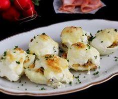 Tepsis töltött burgonya Recept képpel - Mindmegette.hu - Receptek Teriyaki Chicken, Cauliflower, Appetizers, Vegetarian, Snacks, Vegetables, Cooking, Easter, Recipes