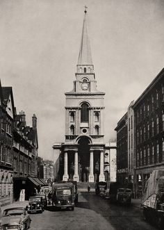 Nicholas Hawksmoor's Christ Church: Spitalfields 1950s. The building on the right - the London Fruit and Wool Exchange - has been condemned for demolition by the London Mayor Boris Johnston.