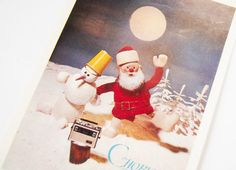 Soviet vintage New Year's postcard dancing Santa and by SovietEra, $5.00