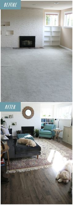 Before and After New Family Room Flooring – The Inspired Room – Renovieren vorher nachher Family Room Decorating, Family Room Design, Decorating Ideas, Furniture Layout, Furniture Arrangement, Bedroom Furniture, Bedroom Decor, Home Staging, Basement Guest Rooms