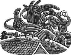 Rooster - Wood Engraving by Beth Krommes
