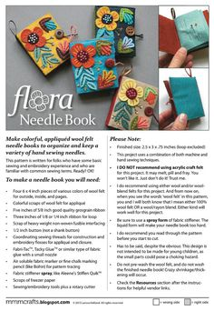 Flora Needle Book PDF pattern by mmmcrafts on Etsy Sewing Terms, Sewing Basics, Sewing Patterns, Needle Case, Needle Book, Felt Embroidery, Pattern Images, Wool Applique, Fabric Scraps