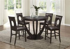 Add casual dining furniture to your home with this counter height table. The circular table top features in-laid tempered black glass adding another medium for a fun mix. The pedestal base features striking. modern curves making this table a talking . Coaster Fine Furniture, Furniture Sale, Dining Room Furniture, Online Furniture, Dining Room Sets, Dining Room Table, Counter Height Table, High Quality Furniture, Table And Chair Sets