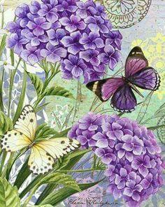 geraniums and butterflies.Purple geraniums and butterflies. Decoupage Vintage, Decoupage Paper, Vintage Diy, Vintage Paper, Vintage Cards, Art Floral, Flower Collage, Flower Art, Flower Beds