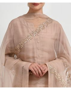 Oyster Pink Gota Patti Hand Embroidered Dupatta with Suit