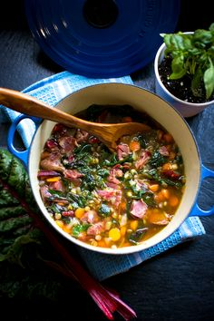 ham hock, swiss chard & lentil stew
