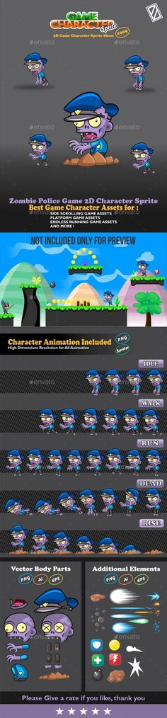 Zombie Police Game 2D Character Sprite   DOWNLOAD:  https://graphicriver.net/item/zombie-police-game-2d-character-sprite/20185511?ref=sinzo #Sprites #Game #Assets