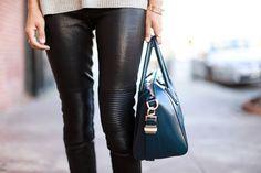 Aimee Song wears the J BRAND Nicola Moto Leather Skinny.