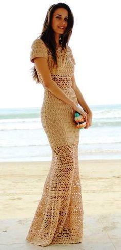vestido largo beige
