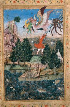 Basawan. The Flight of the Simurgh. ca. 1590, Sadruddin Aga Khan Collection - Simurgh - Wikipedia, the free encyclopedia