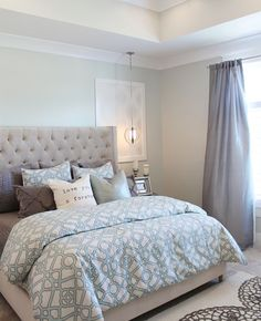 Soothing paint colors of blue and grey for this master bedroom. Thrifty and Chic – DIY Projects and Home Decor: Soothing paint colors of blue and grey for this master bedroom. Thrifty and Chic – DIY Projects and Home Decor: Make Your Bed, Suites, Dream Bedroom, White Bedroom, Taupe Bedroom, Bedroom Country, Warm Bedroom, Girls Bedroom, Grey Curtains Bedroom