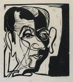 Portrait de Jean Arp, Ernst Ludwig Kirchner - Paris, musée national d'Art moderne - Centre Georges Pompidou : (C) Centre Pompidou, MNAM-CCI,...