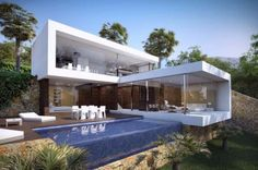 Modern house - CGI Product Rendering of Modern Home with Pool Residential Architecture, Contemporary Architecture, Interior Architecture, Modern Interior, Modern Contemporary, Rendering Architecture, Architecture Diagrams, Architecture Portfolio, Beautiful Architecture