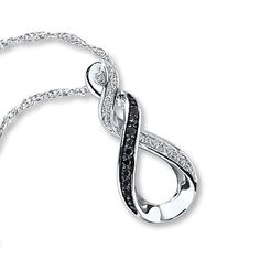 Black/White Diamonds 1/15 ct tw Necklace Sterling Silver