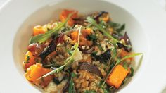 Butternut squash, sage and goat's cheese barley risotto
