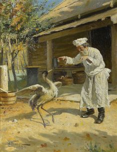 Dancing Crane (1897)  Alexander Makovsky (1869-1924) was a Russian painter. He was the son of another prominent Russian painter, Vladimir Makovsky.