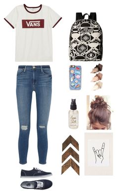 """How to wear Vans to school"" by rmsbogh on Polyvore featuring Frame Denim, Vans, Zero Gravity, Urban Decay, Olivine and Urban Outfitters"