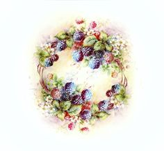 Fruit Painting, China Painting, Ceramic Painting, Rock Painting, Wreath Watercolor, Watercolor Flowers, Watercolour, Fruits Photos, Napkin Decoupage