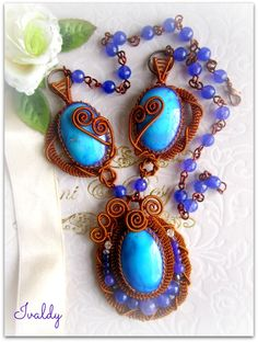 Wire wrapped necklace with Purplish Blue Agate stone by https://www.facebook.com/dwear.instyle