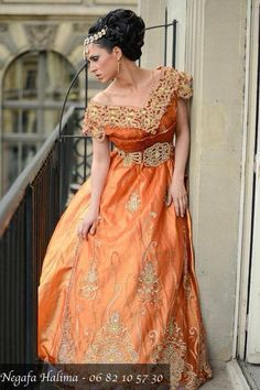 Algerian Fashion: orange wahrani dress