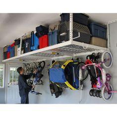 "Overhead Storage:  ($199.99 SafeRacks 4'x8' Overhead Garage Storage Rack Ceiling Drop Range 24""-45"")"