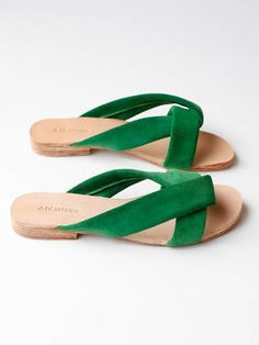 "Japanese inspired suede slip on sandle. .5"" heel. Green. Made in Peru."
