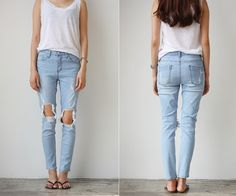 Ripped Jeans and a White T-Shirt