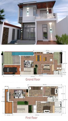 Interior Design Home Plan Walk Through with Full Plan Home Design Plan Description: The House has Car Parking small garden -Living room, -Dining room, -Kitchen, Bedrooms with 3 bathrooms Restroom Under the stair Duplex House Plans, Small House Plans, House Floor Plans, House Front Design, Small House Design, Modern House Design, Model House Plan, Expensive Houses, Dream House Exterior