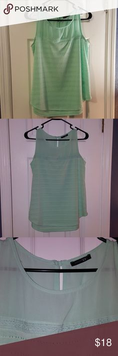 Papermoon (Stitch Fix) Eyelet Tank Top NWOT Sz Sm Women's Tank top,  new without tags,  Papermoon brand for Stitch Fix. Its an aqua/mint color,  size small but fits closer to a medium. I tried this on several times (thus the removed tags) but never wore it for longer than a few minutes. The top of the tank is a sheer linen, the body is an eyelet lace,  so it is slightly sheer,  but not sheer enough that you'd need to wear a tank underneath and I'm pretty modest. Fabric in perfect shape. Non…
