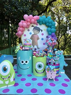 Happy Birthday Disney, Girl 2nd Birthday, 2nd Birthday Parties, Superhero Party Decorations, Monster Decorations, Monster Inc Birthday, Monster Inc Party, Candy Party, 1st Birthdays