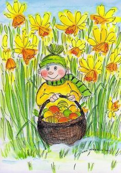 Postcrossing postcard from Finland April Easter, Garden Illustration, Flower Fairies, Watercolor Cards, Whimsical Art, Daffodils, Illustrations, Painting & Drawing, Drawings