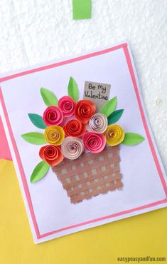 Diy Rolled Paper Roses Valentines Day Or Mother's Day Card - Easy . DIY Rolled Paper Roses Valentines Day or Mother's Day Card - Easy diy fall paper crafts - Diy Fall Crafts Diy Mother's Day Crafts, Valentine's Day Crafts For Kids, Valentine Crafts For Kids, Mother's Day Diy, Kids Diy, Crafts For Seniors, Decor Crafts, Fall Paper Crafts, Spring Crafts